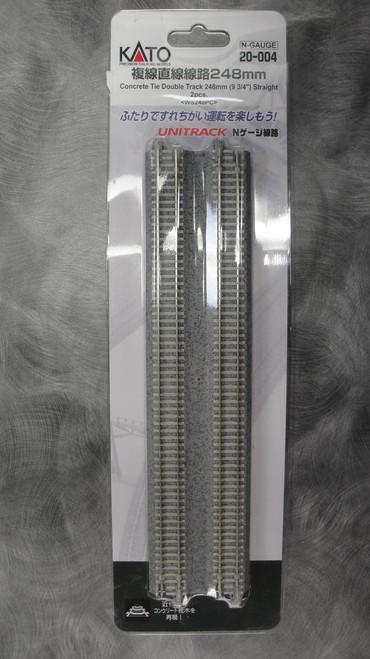 "20004 Kato USA Inc / 248mm (9 3/4"") Concrete Tie Double Track Straight [2 pcs]  (SCALE=N)  Part # 381-20004"
