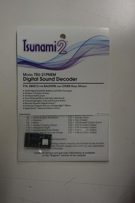 885012 Soundtraxx / Tsunami 2 Diesel Bald.& Oth. Set, 6-Function, Universal TSU-21PNEM (1 Amp) Digital Sound Decoders   (Scale=HO) Part # = 678-885012