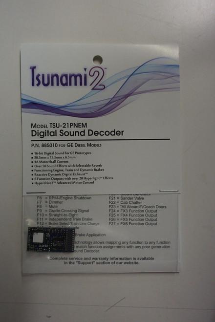 885010 Soundtraxx / Tsunami 2 Diesel GE Set, 6-Function, Universal TSU-21PNEM (1 Amp) Digital Sound Decoders    (Scale=HO) Part # = 678-885010