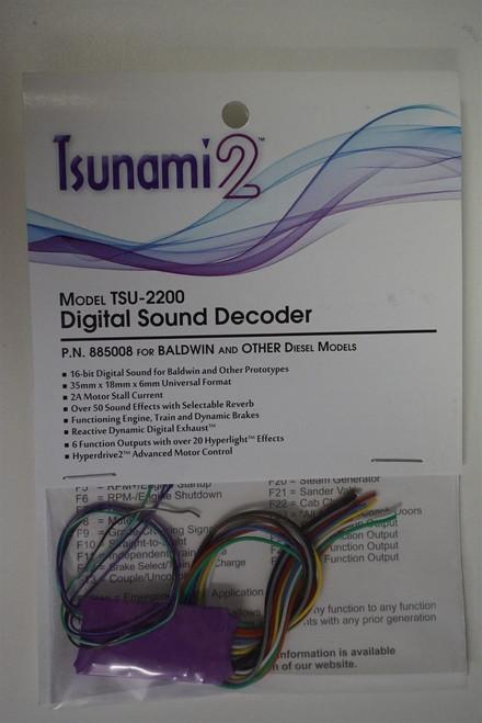 885008 Soundtraxx / Tsunami 2 Diesel Bald.& Oth. Set, 6-Function, Universal TSU-2200 (2 Amp) Digital Sound Decoders   (Scale=HO)  Part # = 678-885008