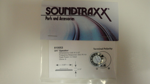 810053 Soundtraxx / 20mm Round, 8 Ohm Speaker SPEA (SCALE=ALL) Part # = 678-810053