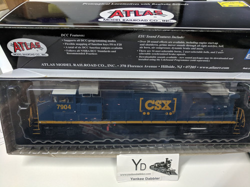 "ATLAS 10002314 / Atlas Model Railroad Co. GE Dash 8-40CW #7904(CSX ""YN3b) w/LokSound & DCC - Master(R) Gold (SCALE=HO Part # 150-10002314"