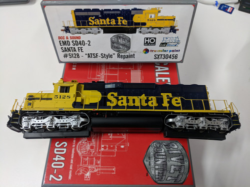 STX30456  END SD40-2 Santa FE #5128 ATSF-Style  Repaint Rivet Counter Scale Trains  (SCALE=HO)  Part # STX-30456