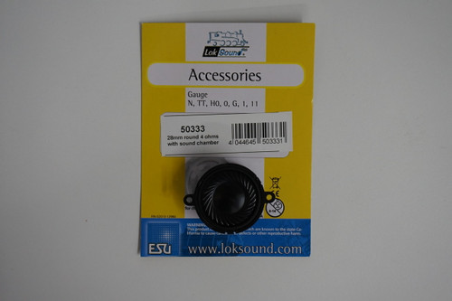 50333 (ALL-SCALES) ESU-50333 28mm Round Speaker with Sound Chamber (4) Ohms, Part # = 397-50333