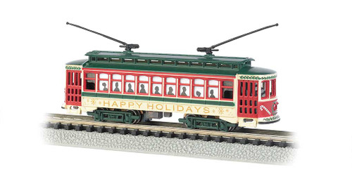 "61085 BACHMANN / Brill Trolley - Christmas (""Happy Holidays"") - Standard DC  #61085 - Standard DC (N Scale) Part # = 160-61085"
