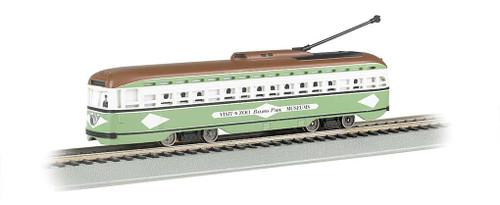 60501 BACHMANN / PCC Streetcar San Diego (light green, white) #60501 w/DCC, Sound & Sparking Trolley Pole  (HO Scale) Part # = 160-60501