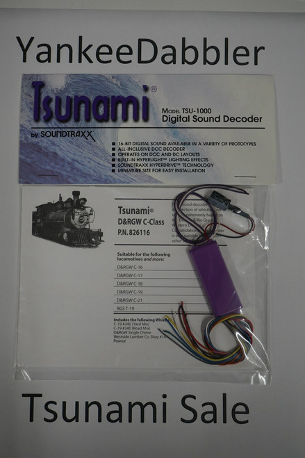 826116 Soundtraxx / Tsunami  TSU-1000 826116 D&RGW C-Class Steam Scale = All Part # = 678-826116