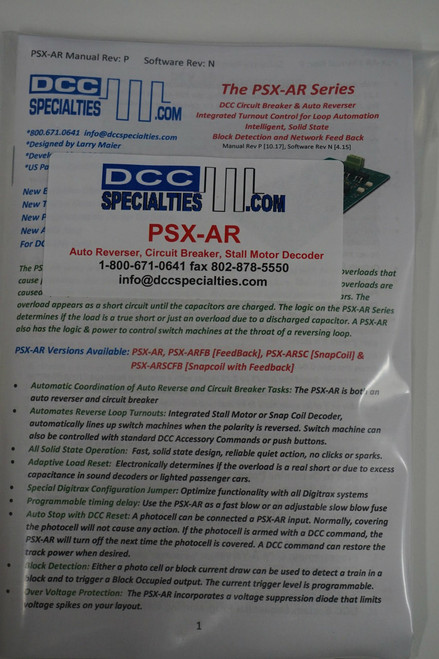 DDC SPECIALTIES 246-PSXAR - DCC Solid State Stationary Decoders -- Auto Reverser-Circuit Breaker w/Integrated Stall Motor (SALE=ALL) 246-PSXAR