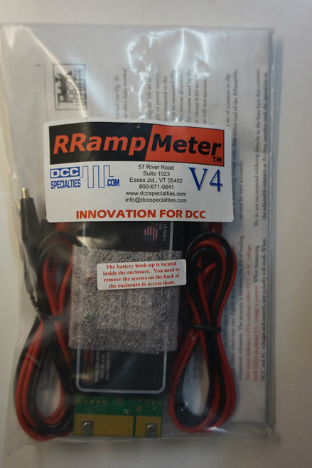 DCC SPECIALTIES 246-RRAMPMETER V4 - Circuit Module -- Version IV - Enclosed w/Clip Leads & Battery Backup for High Voltage (Scale=ALL)  246-RRAMPMETER V4
