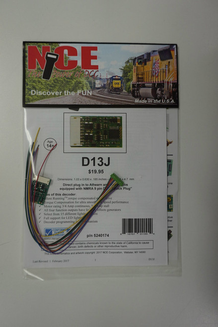 174 NCE -  D13J Decoder w/9-Pin Plug Part # NCE174