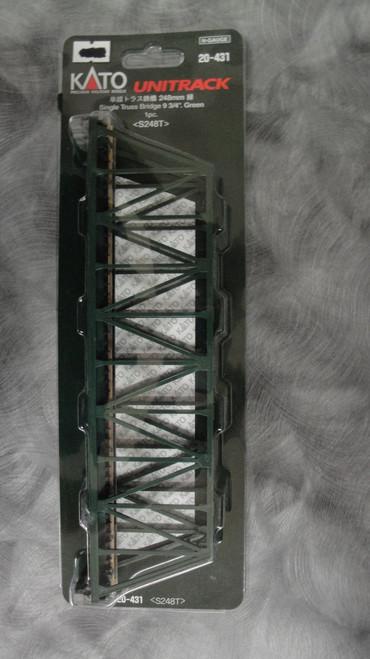 "20431 Kato USA Inc / 248mm (9 3/4"") Single Track Truss Bridge, Green (SCALE=N)  Part # 381-20431"
