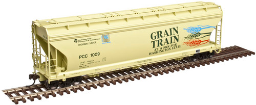 20003466 Atlas ACF 4650 Centerflow Covered Hopper - Grain Train - PCC - Palouse River & Coulee City RR #1016 (Scale=HO) 150-20003466