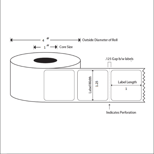 1.25x1 LABELS, Topcoated Direct Thermal ( Item#: BD125113751 )