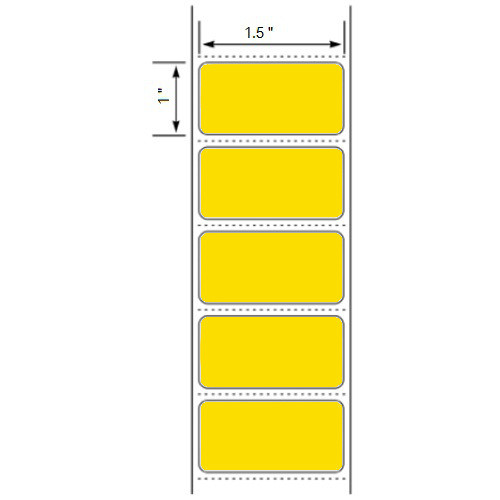 1.5x1 LABELS, Floodcoated Topcoated Direct Thermal ( Item#: BD1511375YL )