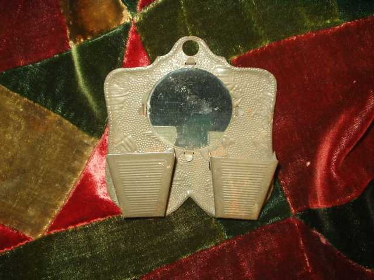 19th Century Embossed Pressed Tin Match Safe or Hair Pin Holder Americana