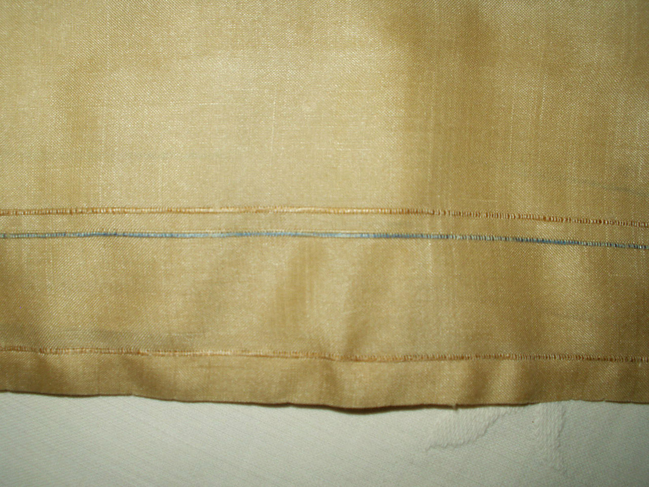 Vintage 1920 1930 Pongee Raw Silk Drawnwork Colored Thread Handkerchief Hankie