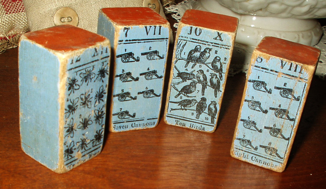 5 Country Primitive Blue Victorian Children Toy Building Picture Wooden Blocks