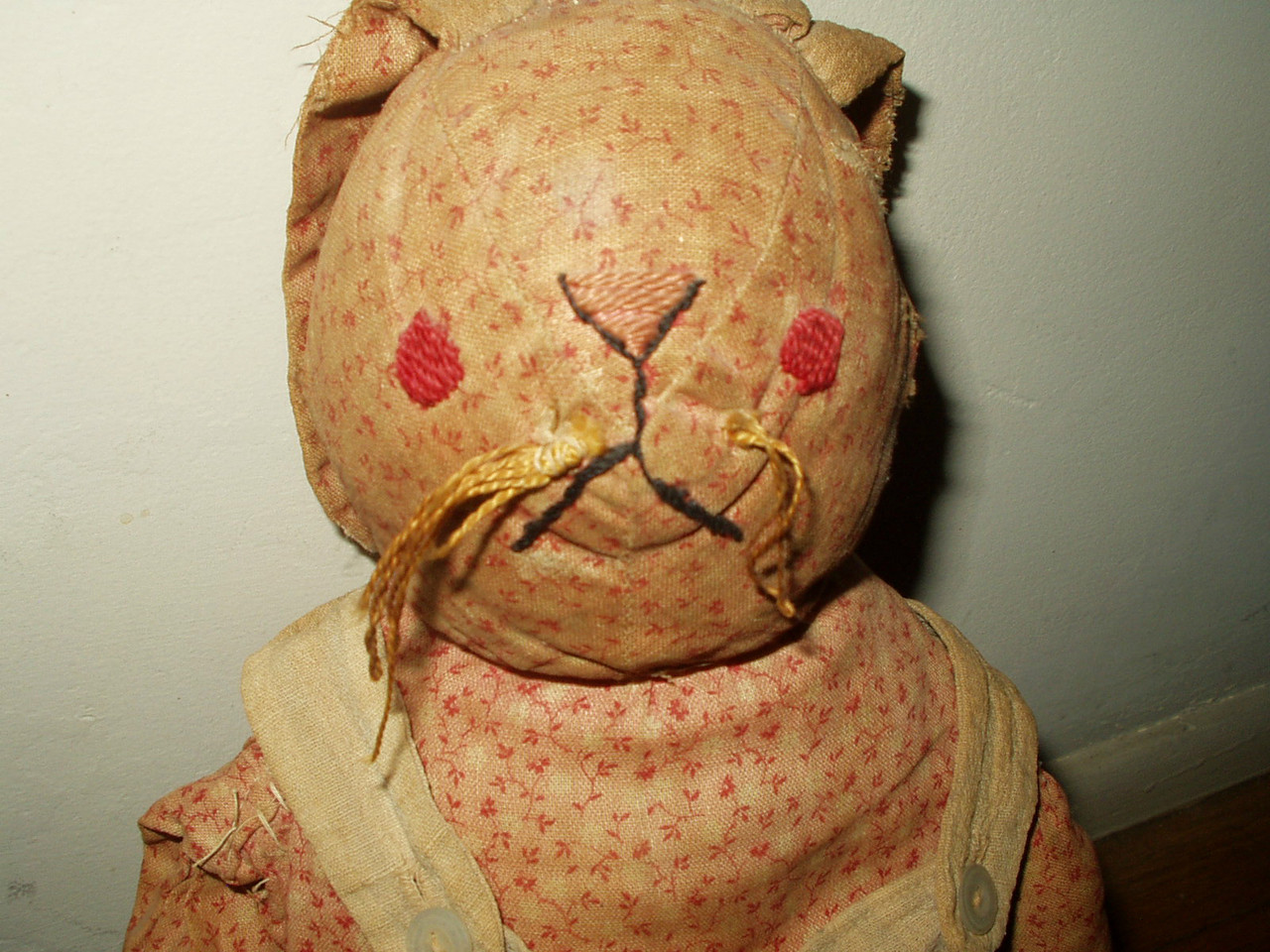 Early 1900 Hand Made Cloth Rabbit Doll Double Pink Calico Body Stripe Overalls