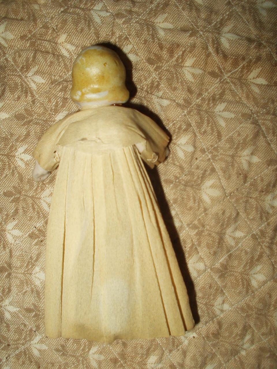 Vintage 1920 Bisque Doll Movable Hands Legs Crepe Paper ...