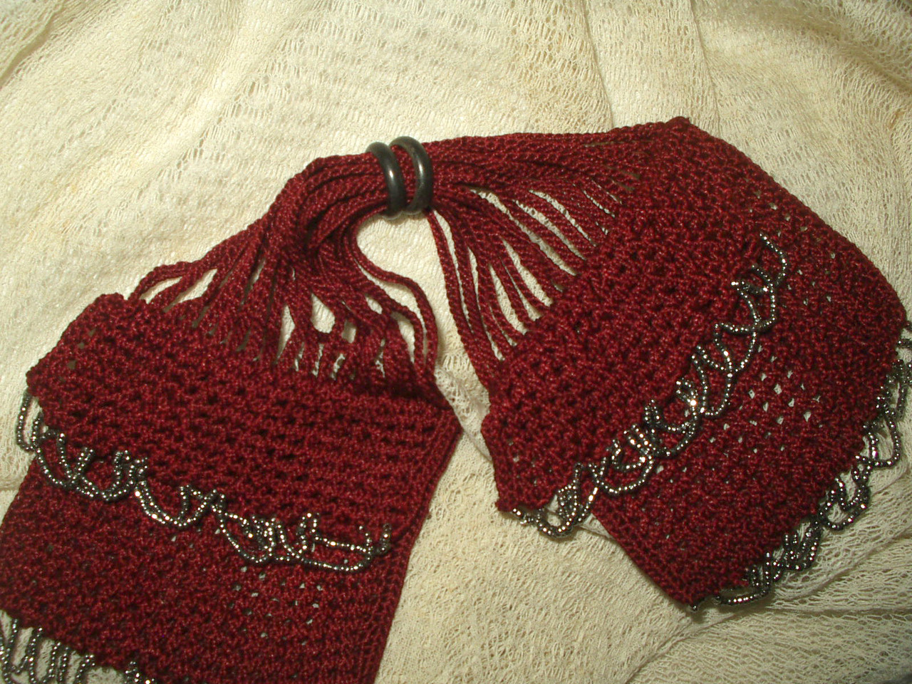 Antique Knitted Silk Miser Bag Coin Purse Silver Bead -8001