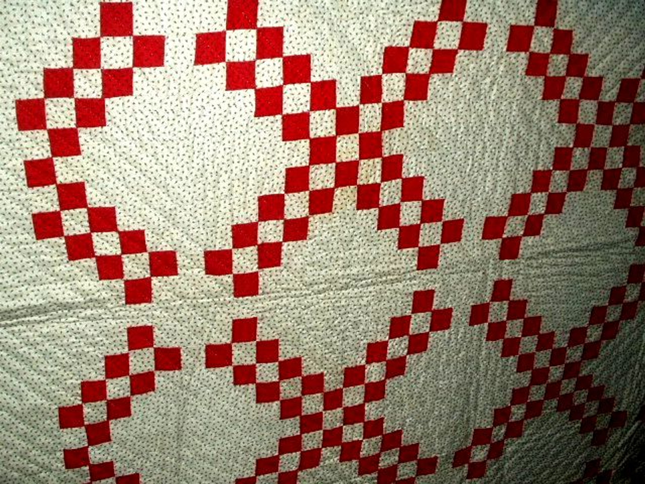 1900 Red White With Black Calico Handstitched Irish Chain Quilt