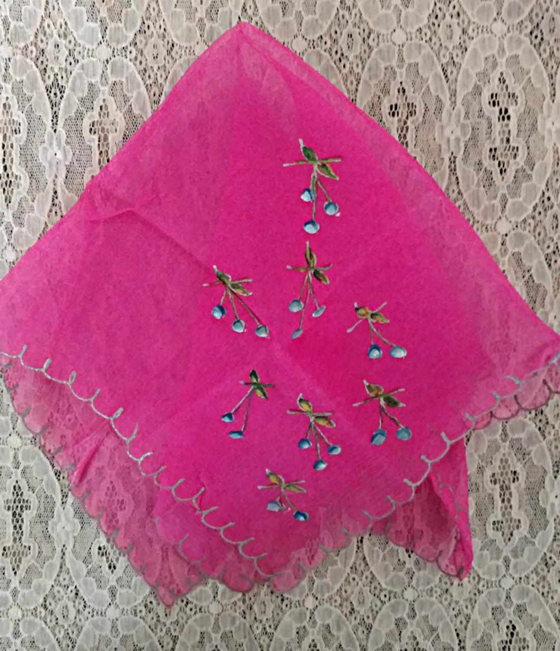 1920 Hand Painted Rose Silk Chiffon Handkerchief Gold