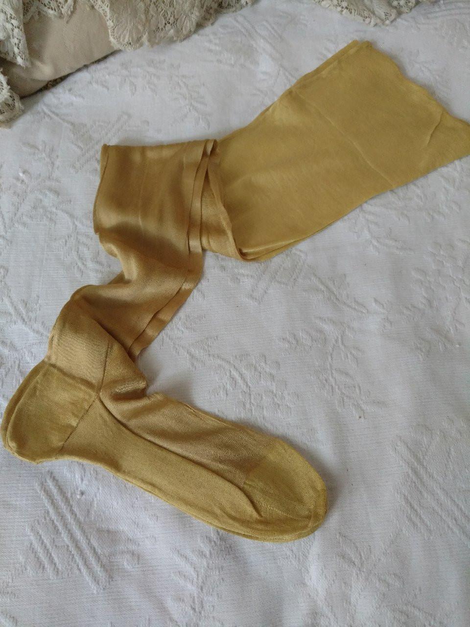 Antique Yellow Silk Rayon Stockings 1920s Flapper Hosiery Full Fashion