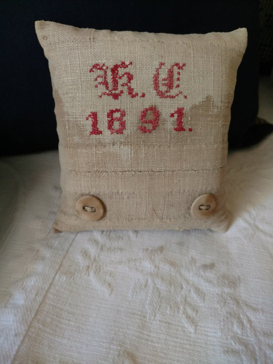 1891 Antique School Girl Sampler Pincushion Redwork Embroidery Sewing