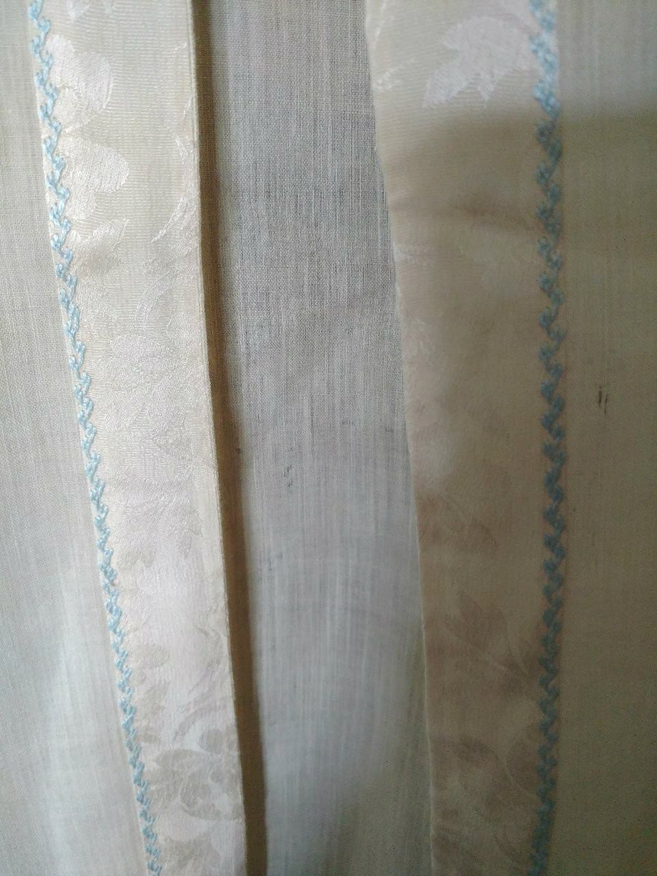 1920s Baby Nightgown Long Cream Silk Wool Brocade Ribbon Blue Embroidery Trim