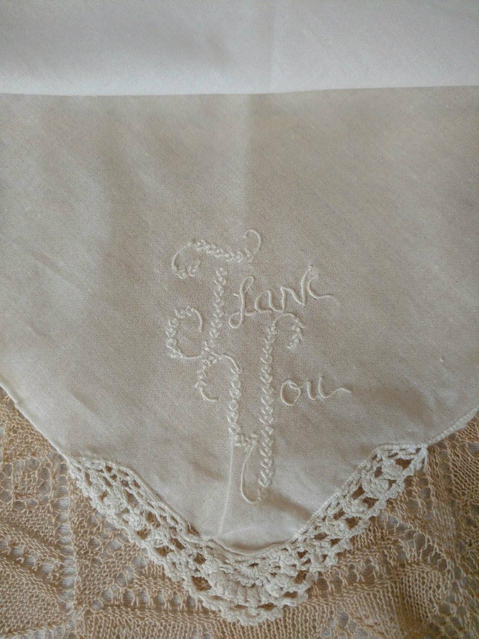 Vintage Embroidery Thank You Handkerchief Crochet Edge Corner Hankie