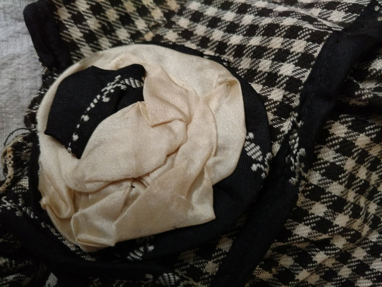 1920s Girl Bonnet Hat Home Sewn Black White Check Ribbon Rosettes