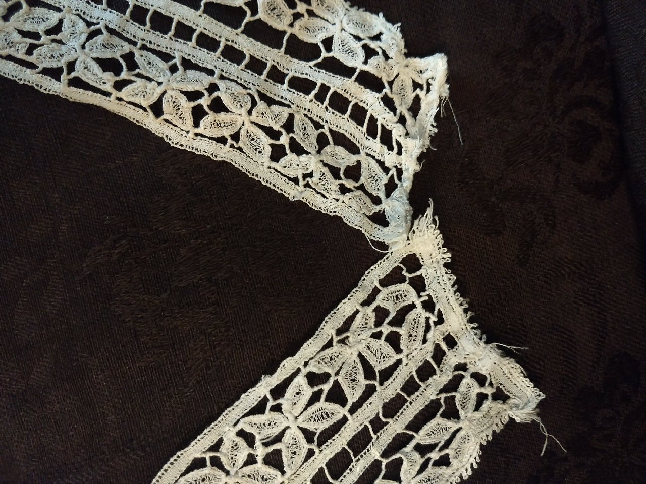 Hand Made Tape Lace Collar Dress Front Piece Victorian Edwardian Antique