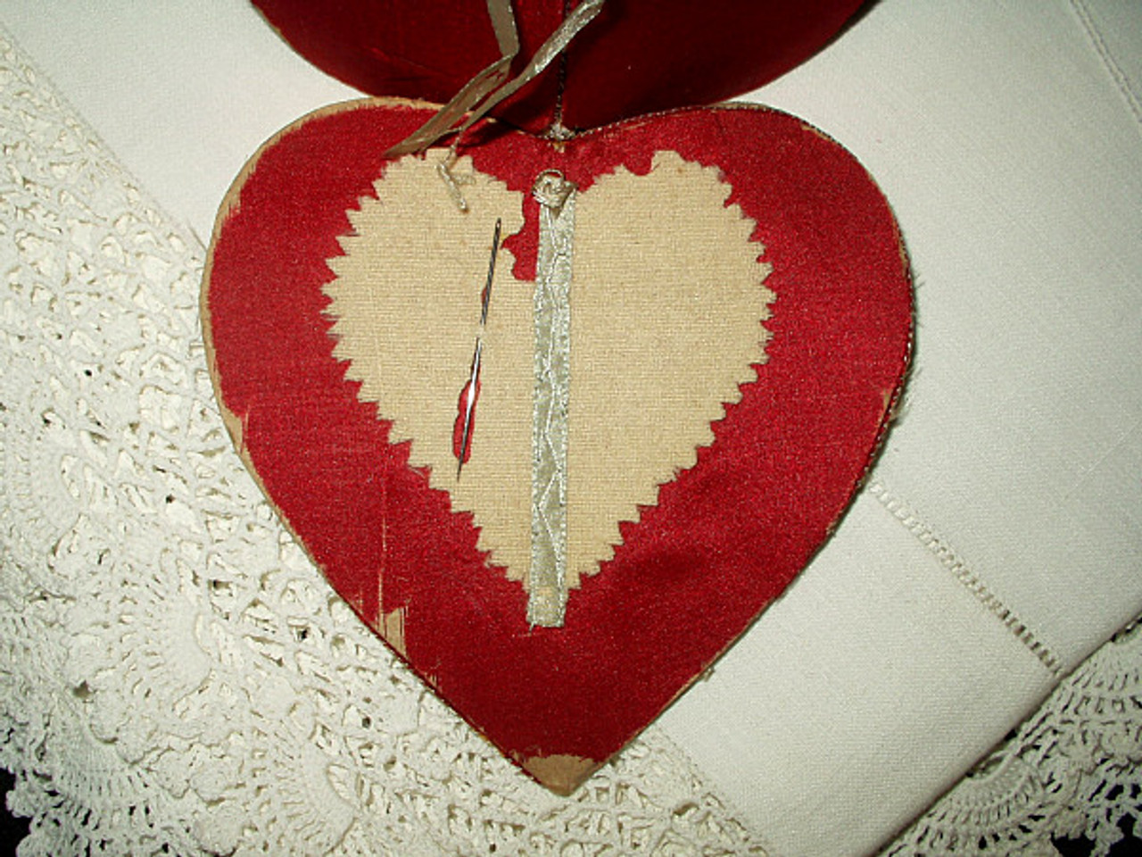 Antique  Victorian Edwardian Silk Paisley Heart Shape Needle Case