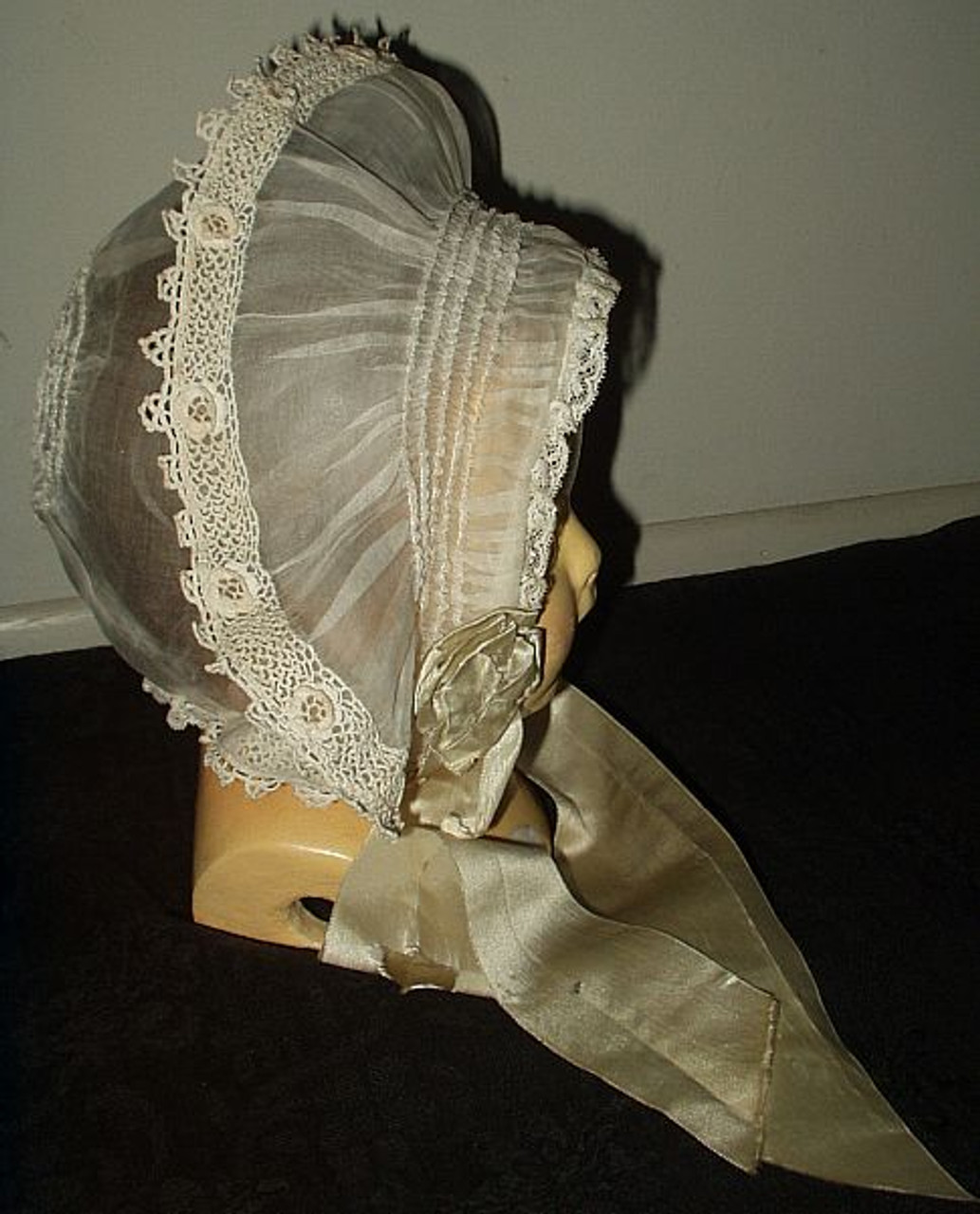 Antique Vintage Edwardian 1920s Organdy Irish Crochet Lace Baby Bonnet