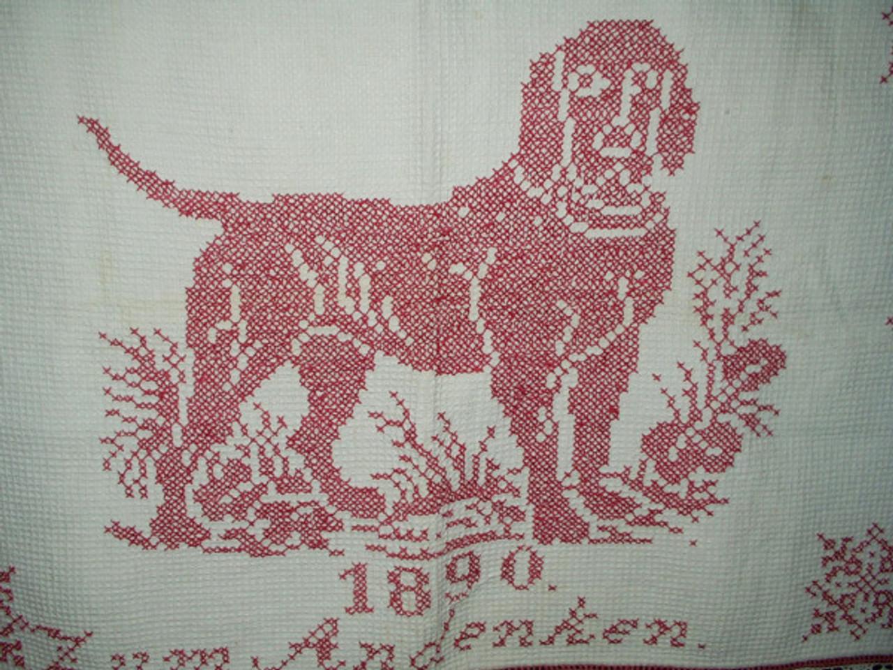 Victorian Turkey Redwork Embroidery Cross Stitch Dog