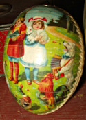 Antique Vintage 1920 German Paper Mache Easter Egg Children Animals
