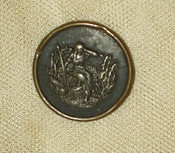 Antique Victorian 1890 Metal Brass Figural Button Maiden Bulrushes