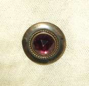 Vintage Victorian Edwardian Button Amethyst Color Faceted Glass Metal Rim
