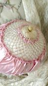 Flapper 1920s Bed Bonnet Lingerie Cap Pink Satin Crochet Daisy Trim