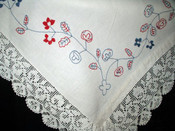 Victorian Homespun Sheet Red Blue  Embroidery Crochet Lace Trim