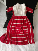 Old Treadle Machine Sewn Doll Dress Red Stripe Calico China Buttons