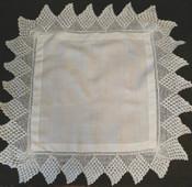Antique Linen Square Table Doily 5 Inch Crochet Lace Edge Trim