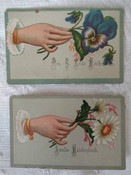 2 Lithograph Calling Cards Hand Flower Victorian Ephemera 1900s