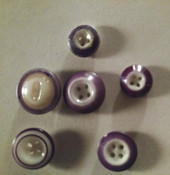 6 Early Victorian China Buttons Luster Ring Inkwell Saucer Purple No Match