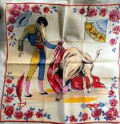Vintage Matador Bullfighter Hankie Handkerchief Colorful Cotton Unused