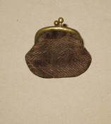 Antique Silk Brocade Fabric Victorian Edwardian Coin Purse For Doll
