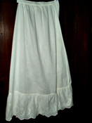 Antique Victorian Edwardian White Cotton  Embroidery Ruffle Petticoat