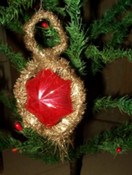 Antique Victorian Glass Star and Tinsel Christmas Ornament