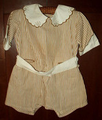 Vintage 1920 1930 Embroidery Brown Stripe Children Toddler Rompers