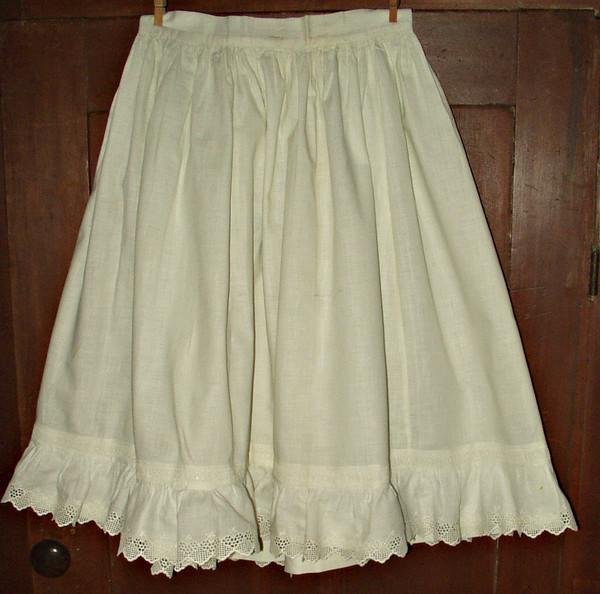 Victorian Edwardian Girl White Cotton Petticoat Swiss Embroidery Trim
